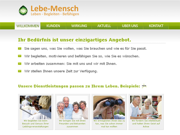 Online Auftritt www.lebe-mensch.ch